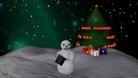 Snowman with cylinder and Christmas tree. Snowman with cylinder stands in front of a Christmas tree with gifts. Christmas picture as 3d illustration stock illustration