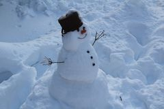 Snowman in Czech Republic. Winter snowman cold stock photos