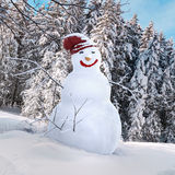 Snowman 3d illustrated. Fire trees and snow environment for a 3d snowman illustration Royalty Free Stock Photos