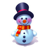Snowman. 3d illustration  isolated over white background Stock Image