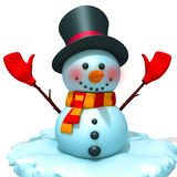 Snowman. 3d illustration   over white background Stock Photos