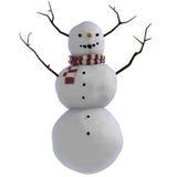 Snowman 3D med pinnar för horn på kronhjort Stock Illustrationer