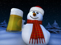 Snowman. 3d render of snowman holding a tankard of beer Stock Photo