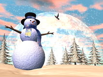 Snowman - 3D render. Snowman standing in the snow by sunset - 3D render Stock Images