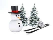 Snowman 3d. winter concept on white background. Image of cartoon snowman 3d illustration. holiday concept on white background Royalty Free Stock Images