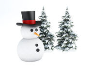 Snowman 3d. winter concept on white background. Image of snowman and tree 3d. winter concept on white background Royalty Free Stock Photography