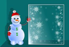 Snowman. 3D. Winter illustration a snowman & a window with snowflakes. stock illustration