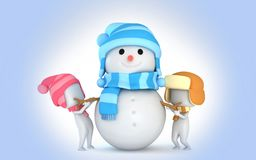 Snowman 3d Winter snow kids Royalty Free Stock Images