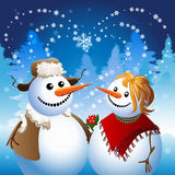 Snowman on date Royalty Free Stock Image