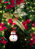 Snowman decorated on christmas tree Royalty Free Stock Images