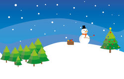 Snowman decorates new year fir tree Royalty Free Stock Images
