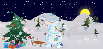 Snowman is decorating the Christmas tree banner Stock Images