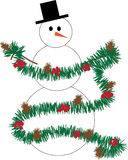 Snowman decorating with garland Royalty Free Stock Photo