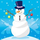 Snowman with decoration stock photography
