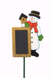Snowman decoration. Snowman Christmas decoration with copy space in black, isolated on a white background Royalty Free Stock Photo