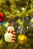 Snowman decoration. Funny snowman Christmas tree decoration Stock Photo