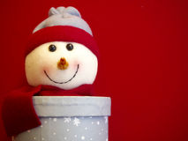 Snowman decoration. On red backgroun Stock Photography
