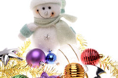 Snowman and decorations Royalty Free Stock Photo