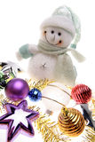 Snowman and decorations Stock Photos