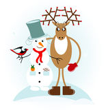 Snowman with deer. And bird Stock Images
