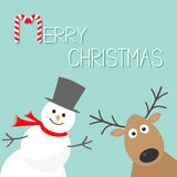 Snowman and deer. Blue background. Candy cane. Merry Christmas card. Flat design Stock Photography