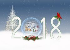 Christmas 2018 snow globe with deer Royalty Free Stock Photography