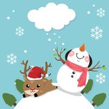 Snowman and deer with sky bright in christmas day. stock illustration