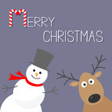 Snowman and deer. Violet background. Candy cane. Merry Christmas card. Flat design Stock Photos