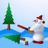 Snowman destroys trees on holiday Royalty Free Stock Image