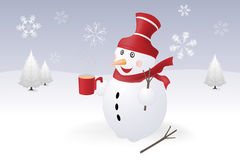Snowman and different snowflakes Stock Photography