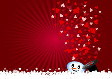 Snowman is discharging love hearts Stock Photo