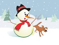 Snowman and dog Royalty Free Stock Images