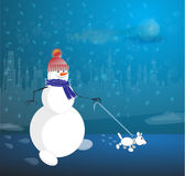 Snowman and dog. Snowman comes with a dog on the streets in the dark Stock Images