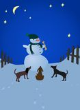 Snowman and dogs Royalty Free Stock Image