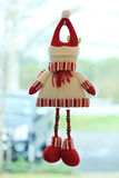 Snowman doll made from yarn decorated home Stock Photo