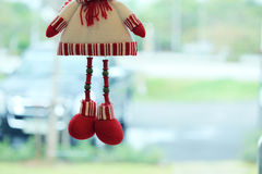 Snowman doll made from yarn decorated home Stock Photos