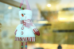 Snowman doll made from yarn decorated home Stock Images