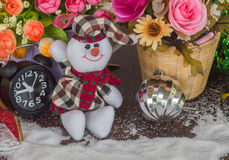 Snowman doll ,snow and flower Royalty Free Stock Photo