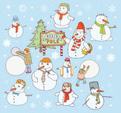 Snowman doodle collection. vector illustration. Royalty Free Stock Photography