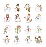 Snowman doodle collection. vector illustration. Royalty Free Stock Photo