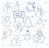 Snowman doodle collection. vector illustration. Royalty Free Stock Image