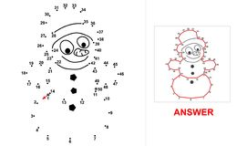 Snowman - dot game. Connect all dots starting at 1 up to 50 and you will see what is hidden on the picture Stock Photo