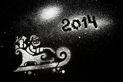 Snowman drawing black background art Royalty Free Stock Image