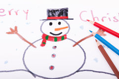 Snowman drawn with crayons Stock Images
