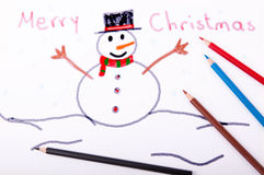 Snowman drawn with crayons Stock Image
