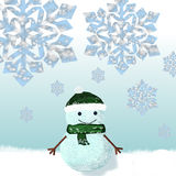 Snowman dressed in knitted cap and scarf royalty free stock photography