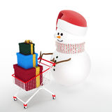 Snowman driven by a shopping cart Royalty Free Stock Images
