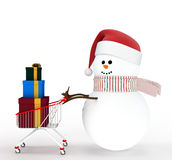 Snowman driven by a shopping cart Stock Photography