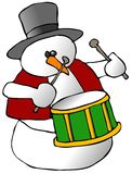 Snowman Drummer. This illustration depicts a snowman playing a snare drum Stock Photos