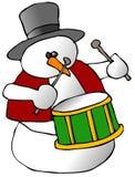 Snowman Drummer vector illustration